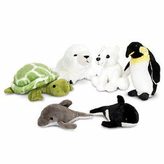 6 Assorted Mini Arctic Sealife Soft Toys 14cm (SW4610)