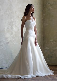 JUST LOVE, strapless a-line bridal gown from silk chiffon