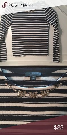 Striped navy blue and white long sleeve top. This is a beautiful Longsleeved navy blue and white striped top. At the top there is nice jeweled pattern along the neck. The Limited Tops Tees - Long Sleeve
