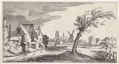 Jan van de Velde (II)   Familie bij een huis met een stad op de achtergrond, Jan van de Velde (II), 1639 - 1641   Een (bedelaars-)familie bij een boom en een huis aan een sloot. De man loopt met krukken. Op de achtergrond een stad. 27ste prent van een serie met 36 prenten van landschappen, verdeeld over zes delen.