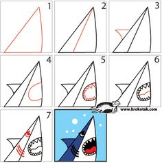 How To Draw a SHARK in 7 Easy Steps- I can definitely find a book for this one...good story starter too. How the shark helped ____(give take and give them their picture) to __________ (swim, get away from, learn to __, etc.)