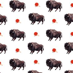 Buffalo Pong Wallpaper/ Digital and gouache © Na Kim 2012