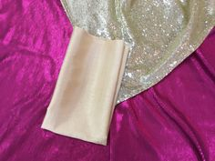 Beautiful cerise and gold  sequin cloths - stunning together with the gold silk napkin