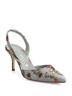 d9276e1998b Manolo Blahnik - Carolyne Embroidered Slingbacks Fab Shoes