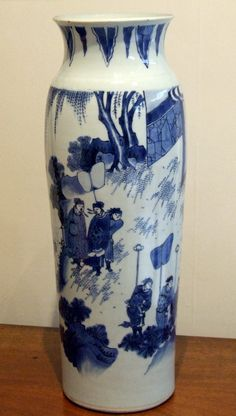MING PORCELAIN. A Fine and Rare Large Inscribed Ming Porcelain Sleeve Vase, Late Ming Dynasty, Chongzhen Period 1628 - 1644.