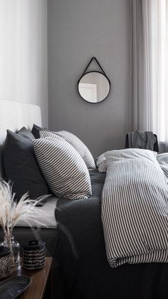 Lighting stores: Get inspired by these bedroom lamps | www.lightingstores.eu Black White And Grey Bedroom, Black White Bedding, Black White Decor, Black And White Sheets, Black Bedrooms, Black Bed Sheets, Neutral Bed Sheets, Black And White Interior, White Bedroom Black Furniture
