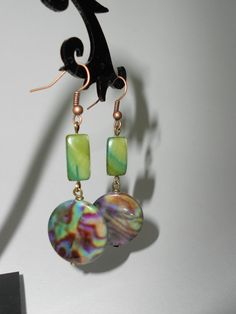Green Shell Earrings/ Mother of Pearl Shell/Rainbow by irusja, €5.20