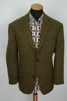 Harris Tweed Sakko gr 28 Braun Wolle Kariert Karo Jacket Blazer size 46S Plaid