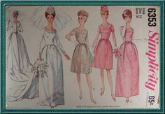 60's Bridal Gown and Bridesmaids Dress Simplicity Sewing Pattern 6353 Wedding Dress Pattern and Bridesmaid Pattern Size 16 Bust 36 Cut. $6.00, via Etsy.