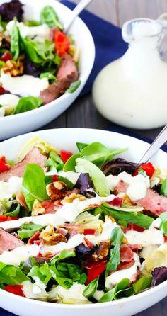 "Steak & Artichoke Salad w/ ""Lighter"" Blue Cheese Dressing | gimmesomeoven.com"