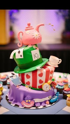 Awesome cake at an Alice in Wonderland Birthday Party! See more party ideas at CatchMyParty.com!