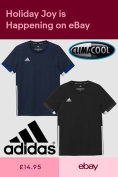 3876cd2cfe1 adidas Kids T16 Team T-Shirt Boys Climalite Black Navy Sports Football Tee  Top