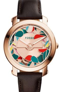 Fossil 'Kaleido' Automatic Leather Strap Watch, 38mm available at #Nordstrom