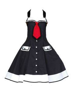Sailor Swing Black Nautical Halter Dress - available in s - XXXL  - plus size