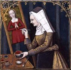 Thamar painting Diana. Boccacio, de mulieribus claris/Le livre de femmes nobles et renomées (trad. anonyme), 15-16th century, France (Cognac). Bibliothèque Nationale MS Français 599 fol. 50.