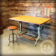 Vintage Industrial Cast Iron Base Wooden Adjustable Drafting Table Architect's Easel