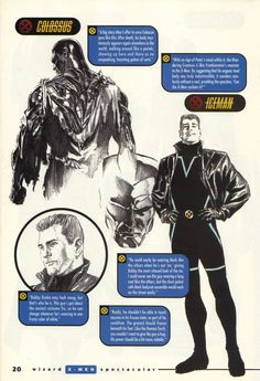 Colossus and Iceman by Alex Ross | Before Grant Morrison took over the X-Men, Marvel asked different creators for a proposal. This was Alex Ross's plans for the X-Men.