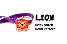 Lion Brick Stitch Delica Seed Bead Pattern Beadwoven by BeadCrumbs