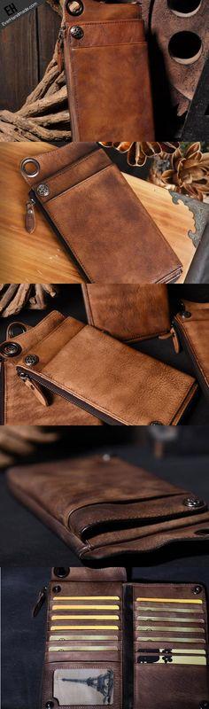 Leather biker trucker wallet leather chain men Brown Coffee long wallet