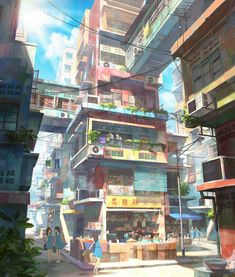 Illustrator Chong Fei Giap from Malaysia draws these great pictures. From an Asian city with a suburb full of little colorful houses. The houses are stacked on top of each other, connected in between with other houses and then there is still driving Environment Concept Art, Environment Design, Illustrator, Flora Und Fauna, Japon Illustration, Scenery Wallpaper, Hd Wallpaper, Jolie Photo, Fantasy Landscape
