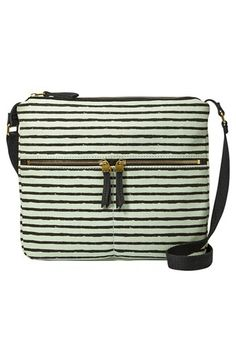An adaptable crossbody is freshened for this season with a clean-cut silhouette in sturdy, striped twill. Exterior zip pockets and lots of compartments inside make it the perfect everyday carryall to get you from here to there. Color(s): mint. Brand: Fossil. Style Name: Fossil 'Erin' Crossbody Bag. Style Number: 682868.