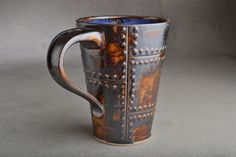 Sheet Metal Ready To Ship Rusty Brown Sheet Metal Stoneware Mug by Symmetrical Pottery