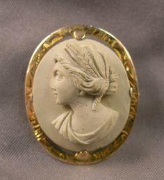 Antique E L Spencer Co 10K Gold Lava Carved Lady Cameo Brooch Pendant   eBay