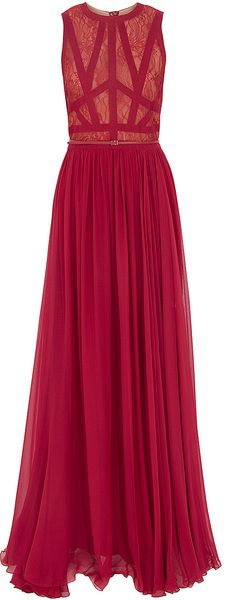 Elie Saab Sl Lace Georgete Lg Gown in Red