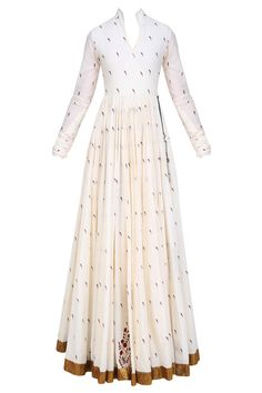 natasha j mughal white angrakha style floor length anarkali kurta in cotton mul base with printed parrot motifs all over and knotted tie up detailing with tassel hangings on the side Designer Anarkali Dresses, Pakistani Dresses, Indian Dresses, Indian Outfits, Eid Dresses, Long Dresses, Designer Dresses, Anarkali Gown, White Anarkali