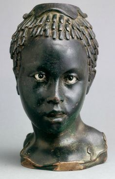 medievalpoc:  Ancient Art Week! Vase (Balsamarium) in the Form of the Head of an Egyptian Youth Alexandrian (c. 2nd Century B.C.E.) Bronze, 7.2. cm. Museo Archeologico, Firenze. The Image of the Black in Western Art Research Project and Photo Archive, W.E.B. Du Bois Institute for African and African American Research, Harvard University