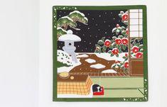 Japanese fabric furoshiki cat Tea towel by japanmomijidesigns