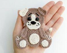 PATTERN Dog Applique Crochet Pattern PDF Pets Animal Pattern Farm Applique Embellishment Accessories Motif Ornament for Baby Blanket ENG