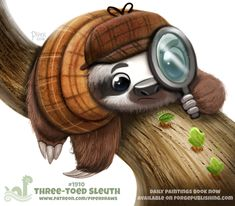 Daily Paint Three-Toed Sleuth by Cryptid-Creations on DeviantArt Cute Animal Drawings Kawaii, Kawaii Drawings, Cute Drawings, Cute Fantasy Creatures, Cute Creatures, Animal Puns, Animal Food, Kawaii Doodles, Cute Sloth