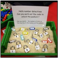 This is a great math center activity for children in preschool or kindergarten. Children would work individually within the small center group. Math Classroom, Classroom Activities, Preschool Activities, Reggio Emilia Preschool, Science Center Preschool, Kindergarten Literacy Stations, Maths Eyfs, Number Sense Kindergarten, Addition Activities