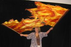 fire flags for Pentecost. Silk painted with flames.