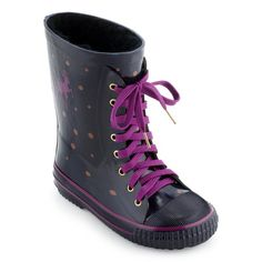 Fur-lined navy blue spotted rubber boots