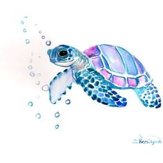 Sea Turtle, Original watercolor painting, 9 X 12 in, sea animal art,... (565 ARS) ❤ liked on Polyvore featuring home, home decor, wall art, art, fillers, animals, photo wall art, animal watercolor paintings, ocean paintings and animal paintings #hawaiiantattoosflower