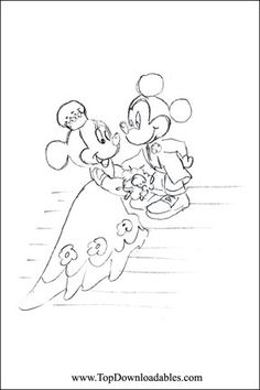 Minnie Mickey Wedding Coloring Page
