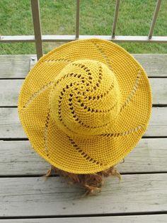 Sunsational Sun Hat Crochet Pattern to purchase at Crochet Dreamz.Trendy crochet patterns to inspire the handmade artist in you. Crochet Hat With Brim, Crochet Summer Hats, Crochet Girls, Crochet Hats, Knitting Hats, Diy Crafts Crochet, Easy Crochet, Crochet Sandals Free, Crochet Designs