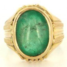 Vintage 18k Yellow Gold Natural Emerald Men's Ring