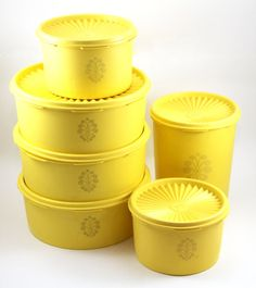 Yellow Tupperware Servalier Container Canister Set, Set of Six Tupperware Storage Containers, Canisters with Lids, Vintage 1970s ---- (Desperate to have a set!!)
