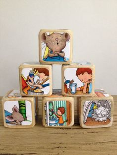 If You Give A Mouse A Cookie // Childrens Book Blocks // Natural Wood Toy by… Summer Cookies, Cookies For Kids, Baby Cookies, Heart Cookies, First Birthday Parties, 3rd Birthday, First Birthdays, Baby Shower Cakes, Baby Shower Gifts