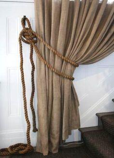 burlap curtain rope tieback