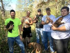 PHOTO: These men didnt expect expect to be caring for puppies when they left for the woods in Tennessee for a bachelor party.