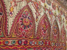 Indian Hindu Kutch embroidery -- probably from the late 1800s to early 1900s, measuring 40 x 66 inches.