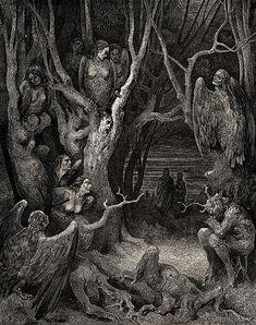 Les Harpies tourmentant des damnés du 7e Cercle des Enfers devant Dante et Virgile - Illustration de La Divine Comédie, probablement par Gustave Doré. #bestiaire #fichepedaarto