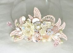 Soft Pink Bridal Comb- Wedding Hair Piece- Bridal Hair Accessories-Statement Bridal Hairpiece-Pink hair clip-Lace Clip-Blush Floral Haircomb on Etsy, $62.00