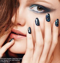 Avon Opal Top Coat instantly adds iridescent flecks of glimmery shimmer over your polish. Get this look with Avon Opal Top Coat over Avon Speed Dry+ Nail Enamel in Twilight Blue.