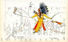 Plains Indian Ledger Art | View Product: Cheyenne Dog Soldier - George Levi