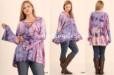 654b3d2c303 NWT UMGEE Purple Bell Sleeve Lace-Up Tie-Dye Swing Trapeze Tunic Top  BabyDoll